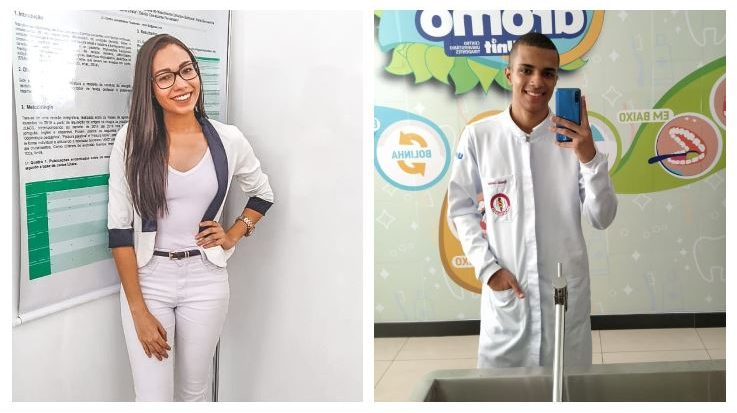 Ronaldo Lourenço e Karla Geovanna, alunos de Odontologia