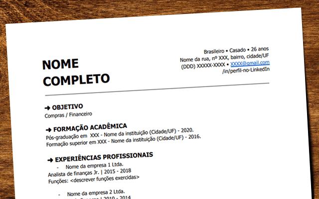 Informações presentes no currículo devem ser objetivas e completas, mostrando um perfil do candidato à vaga de emprego